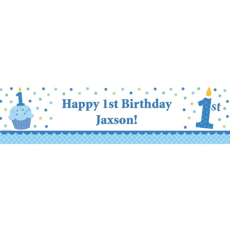 View larger image of Cupcake 1st Birthday Boy Personalized Banner (each)