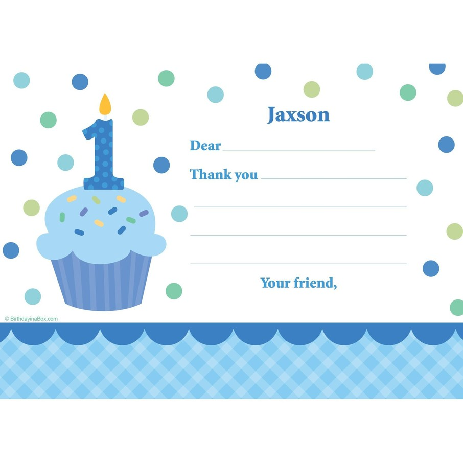 View larger image of Cupcake 1st Birthday Boy Personalized Thank You Note (each)