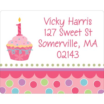 Cupcake 1st Birthday Girl Personalized Address Labels (Sheet of 15)