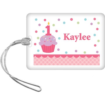 Cupcake 1st Birthday Girl Personalized Bag Tag (each)