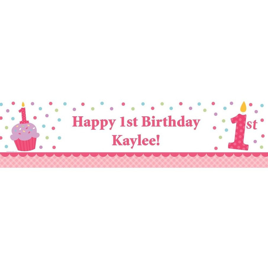 View larger image of Cupcake 1st Birthday Girl Personalized Banner (each)