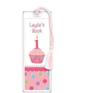 Cupcake 1st Birthday Girl Personalized Bookmark (each)
