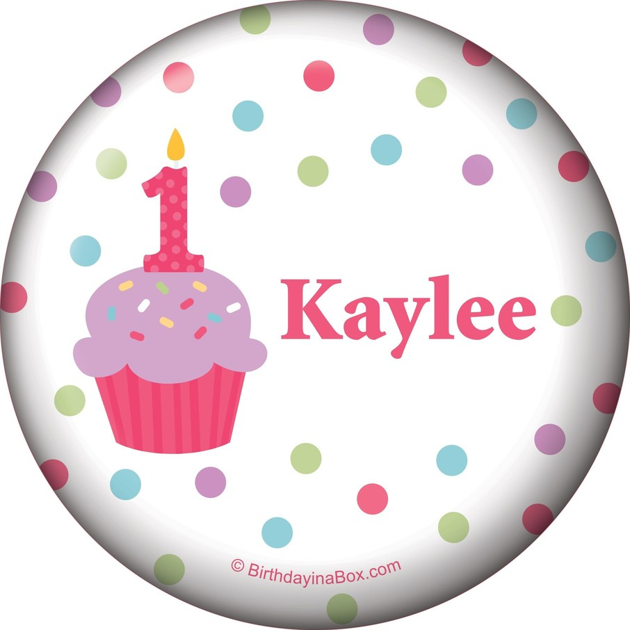 View larger image of Cupcake 1st Birthday Girl Personalized Button (each)