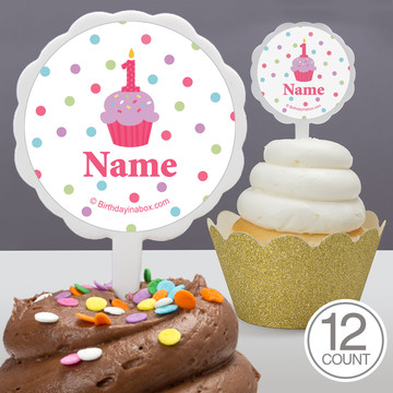 Cupcake 1St Birthday Girl Personalized Cupcake Picks (12 Count)