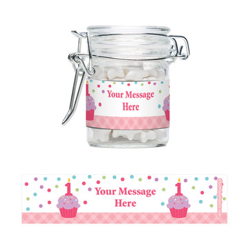 Cupcake 1St Birthday Girl Personalized Glass Apothecary Jars (12 Count)