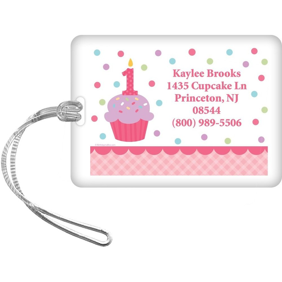 View larger image of Cupcake 1st Birthday Girl Personalized Luggage Tag (each)