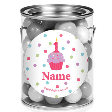 Cupcake 1St Birthday Girl Personalized Mini Paint Cans (12 Count)