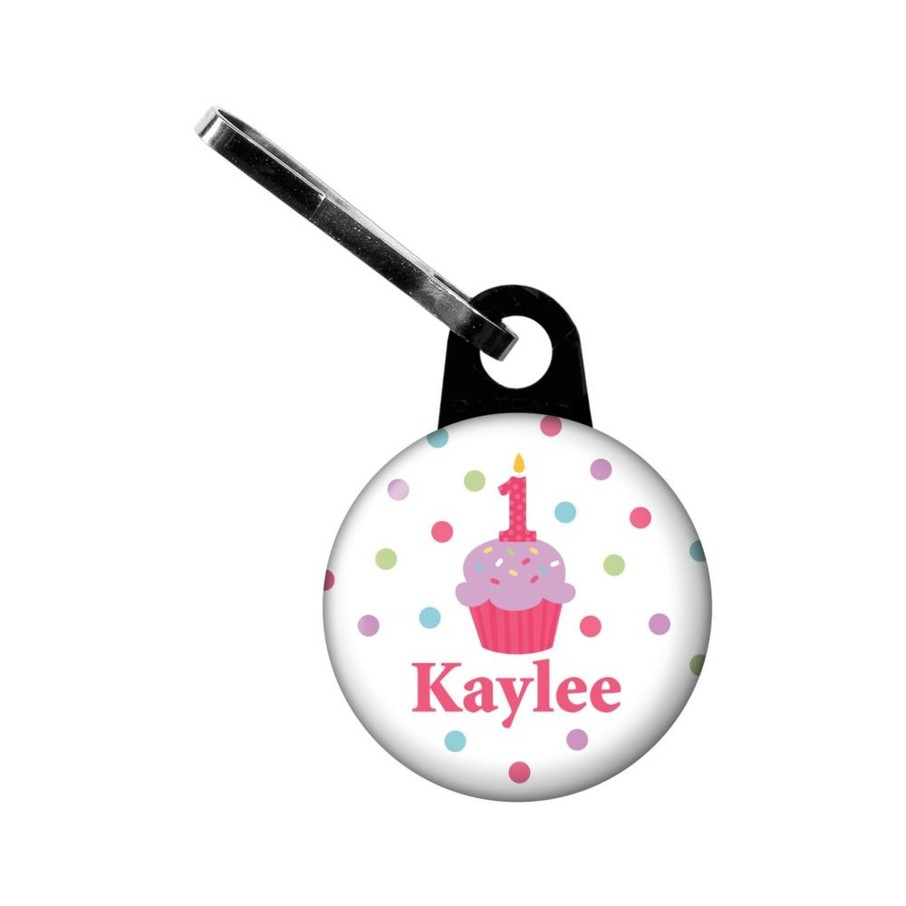 View larger image of Cupcake 1st Birthday Girl Personalized Mini zipper Pull (each)