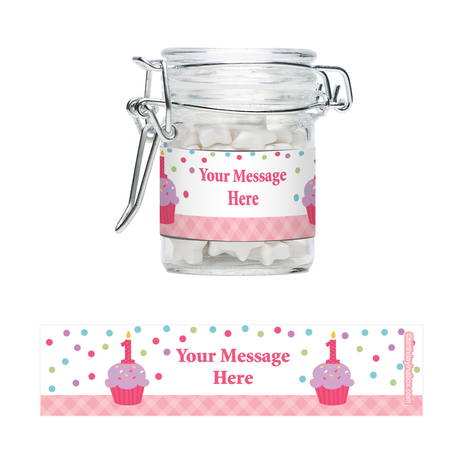 View larger image of Cupcake 1st Birthday Girl Personalized Swing Top Apothecary Jars (12 ct)