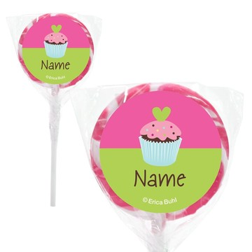 "Cupcake Birthday Personalized 2"" Lollipops (20 Pack)"