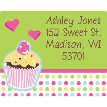 Cupcake Birthday Personalized Address Labels (Sheet of 15)