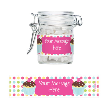 Cupcake Birthday Personalized Swing Top Apothecary Jars (12 ct)