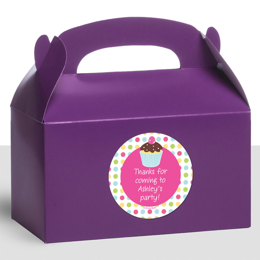 View larger image of Cupcake Birthday Personalized Treat Favor Boxes (12 Count)