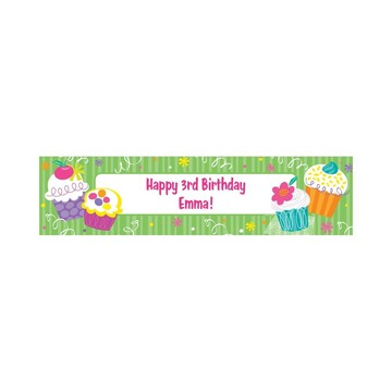 Cupcake Party Personalized Banner (each)