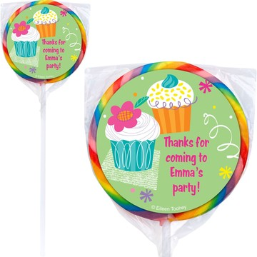 Cupcake Party Personalized Lollipop (pack of 12)