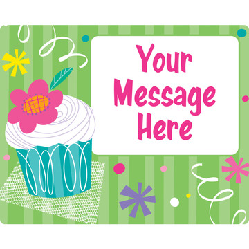 Cupcake Party Personalized Rectangular Stickers (Sheet of 15)