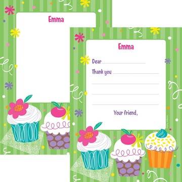 Cupcake Party Personalized Thank You Note (each)