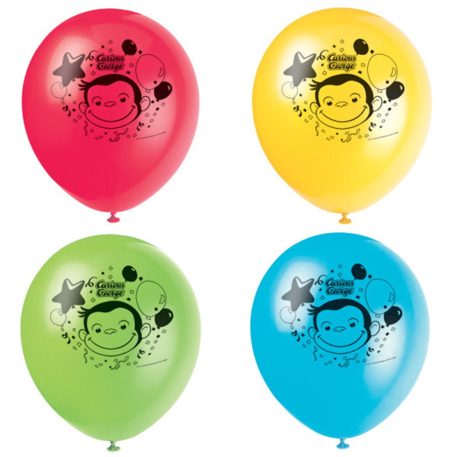 "View larger image of Curious George 12"" Latex Balloons (8)"
