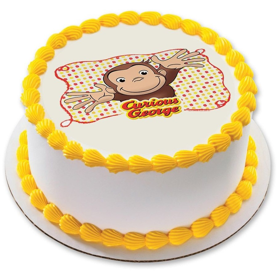 "View larger image of Curious George Let's Celebrate 7.5"" Round Edible Cake Topper (Each)"
