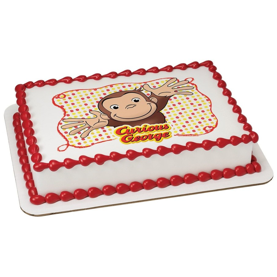 View larger image of Curious George Let's Celebrate Quarter Sheet Edible Cake Topper (Each)