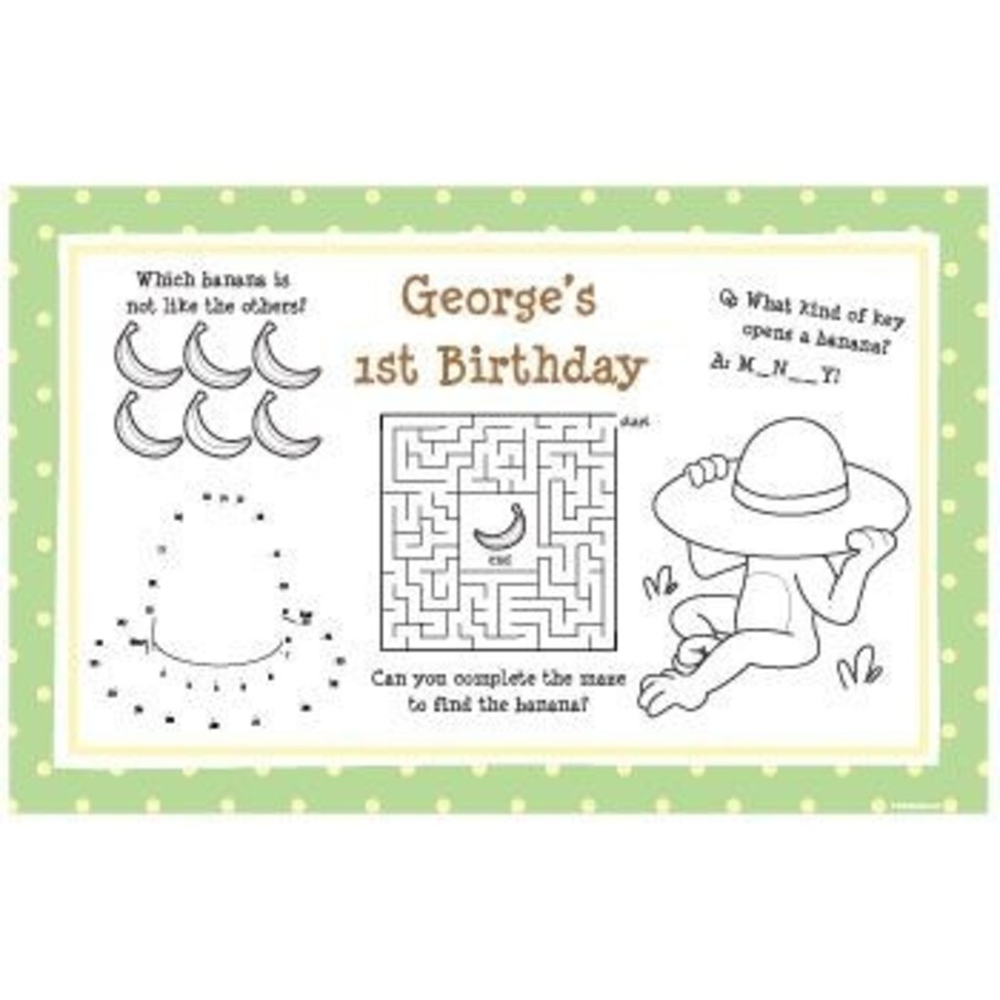 View larger image of Curious Monkey Personalized Activity Mats (8-pack)