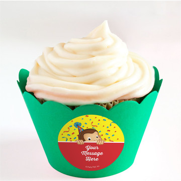 Curious Monkey Personalized Cupcake Wrappers (Set of 24)