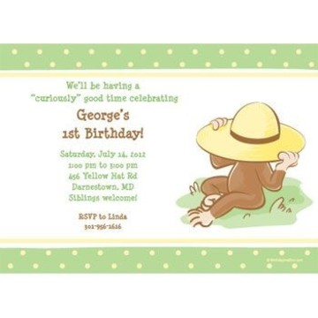 Curious Monkey Personalized Invitation (each)