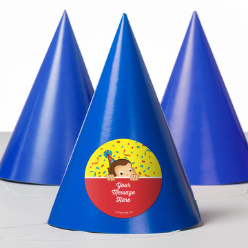 Curious Monkey Personalized Party Hats (8 Count)