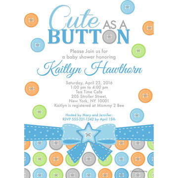 Cute as a Button Boy Personalized Invitation (Each)