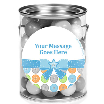 Cute as a Button Boy Personalized Mini Paint Cans (12 Count)