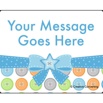 Cute as a Button Boy Personalized Rectangular Stickers (Sheet of 15)