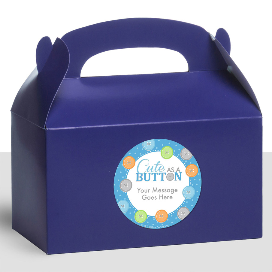 View larger image of Cute as a Button Boy Personalized Treat Favor Boxes (12 Count)