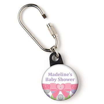 """Cute as a Button Girl Personalized 1"""" Carabiner (Each)"""