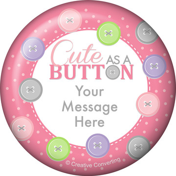 Cute as a Button Girl Personalized Button (Each)