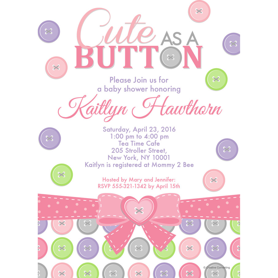 View larger image of Cute as a Button Girl Personalized Invitation (Each)