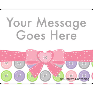 Cute as a Button Girl Personalized Rectangular Stickers (Sheet of 15)