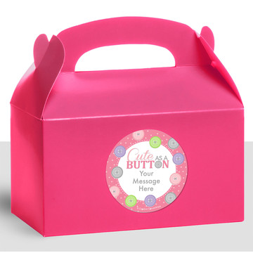Cute as a Button Girl Personalized Treat Favor Boxes (12 Count)