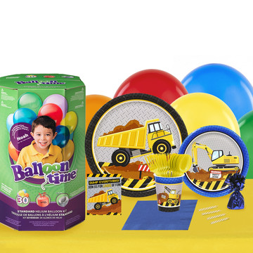 Construction Party 16 Guest Party Pack and Helium Kit