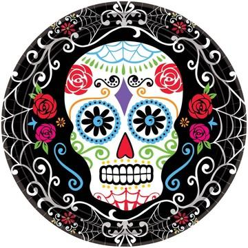 """Day of the Dead 10.5"""" Dinner Plates (18 Pack)"""