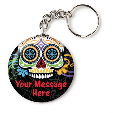 """Day of the Dead Personalized 2.25"""" Key Chain (Each)"""