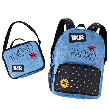 Denim Black Backpack and Lunch Tote Set