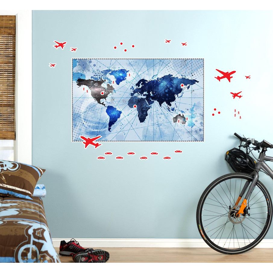 View larger image of Denim Map Giant Wall Decal