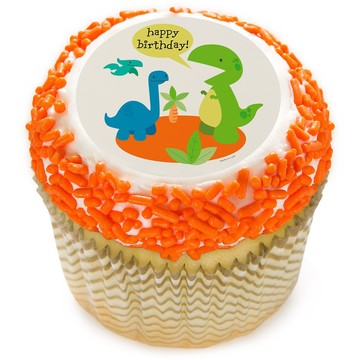 "Dino Birthday 2"" Edible Cupcake Topper (12 Images)"