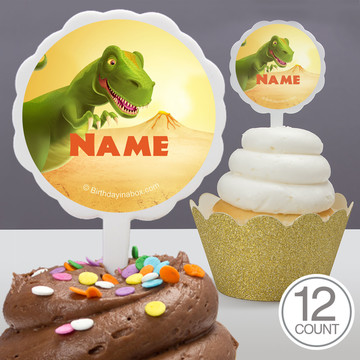 Dinosaur Party Personalized Cupcake Picks (12 Count)