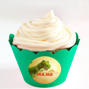 Dinosaur Party Personalized Cupcake Wrappers (Set of 24)