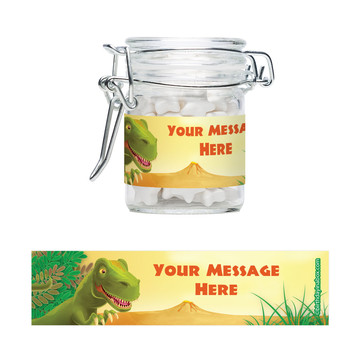 Dinosaur Party Personalized Swing Top Apothecary Jars (12 ct)