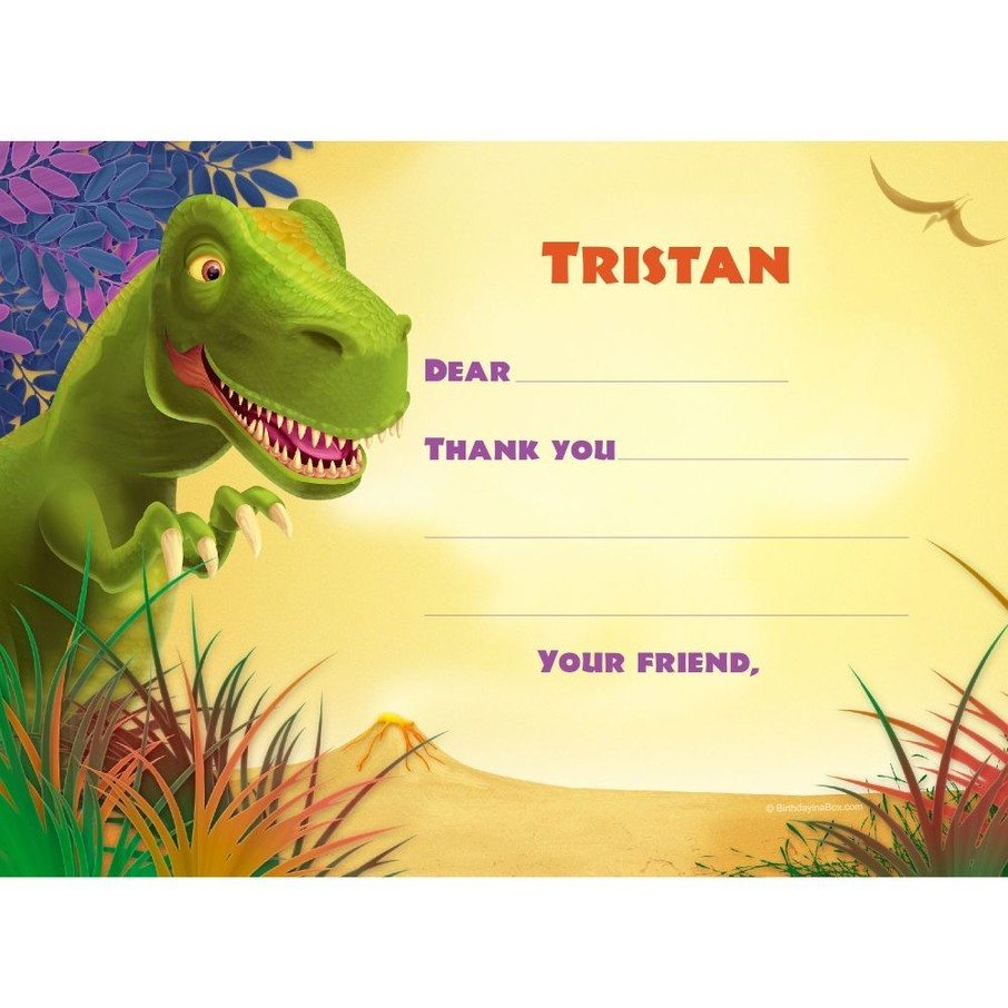 View larger image of Dinosaur Party Personalized Thank You Note (each)