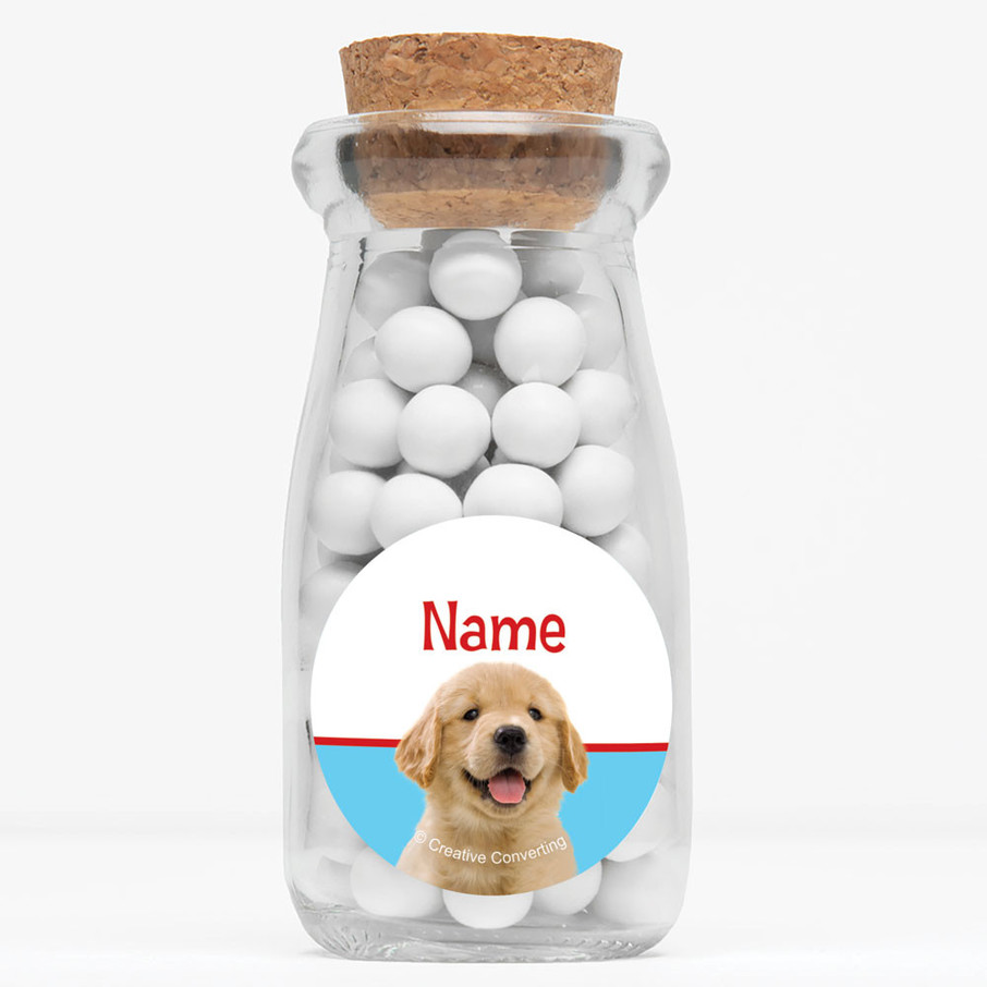 "View larger image of Dog Party Personalized 4"" Glass Milk Jars (Set of 12)"