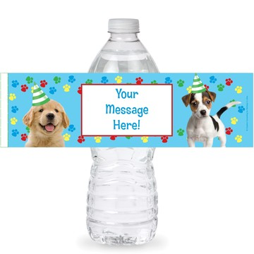 Dog Party Personalized Bottle Labels (Sheet of 4)