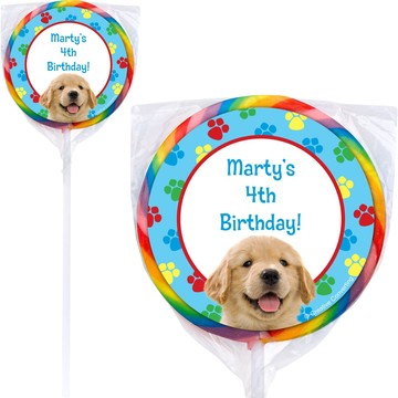 Dog Party Personalized Lollipop (PACK OF 12)